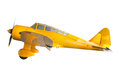 Old classic yellow plane isolated white background Stock Images