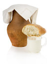 Old clay jug bread and a mug of milk on white background Stock Photos