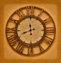 The old clock on the grunge background. Time stopped Royalty Free Stock Photo