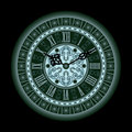 Old clock illustration of an with roman numerals in green Royalty Free Stock Photography