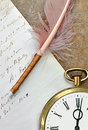 Old clock,quill and letter Royalty Free Stock Photo