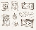 Old clock set of vector sketches Stock Photo