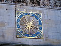 Old clock at st mary s church cambridge an on the wall of an in Royalty Free Stock Photo