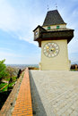 Old clock tower in the city of graz austria Royalty Free Stock Photos