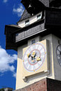Old clock tower in Graz Stock Images