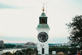 Old clock tower with inverted minutes and hours pointers on Petrovaradin fortress in Novi Sad City Royalty Free Stock Photo
