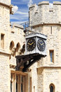 Old clock in the tower of london uk at entrance to jewel house Stock Photography