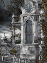 Old clock tower with vines and cobwebs Stock Photo