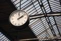 Old clock at a train station Royalty Free Stock Photo