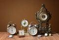 Old clocks, alarm clocks and handheld clocks Royalty Free Stock Photo