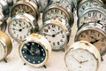 Old clocks at the flea market Royalty Free Stock Photo