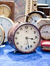 Old clocks at flea market selection of vintage Royalty Free Stock Photography