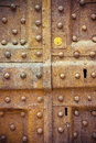 Old closed metal door - Security and protection concept - toned Royalty Free Stock Photo