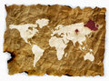 Old cloth world map Stock Photos