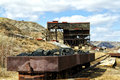 Old coal filled rusted wagons at the atlas mine in alberta canada Royalty Free Stock Photos