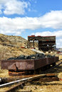 Old coal filled rusted wagons at the atlas mine in alberta canada Stock Photography