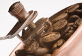 Old coffee grinder and coffee seeds Royalty Free Stock Images