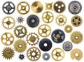 Old cogs isolated different clock on a white background Royalty Free Stock Images