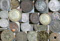Old coins of different countries collage od Stock Photo