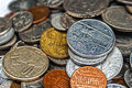 Old coins of different nationalities from different periods Royalty Free Stock Images