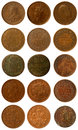 Old coins some and newer copper of india from britain and from austria Stock Photography
