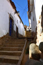 Old Colonial street in Cuzco with Stairs going up Stock Images