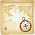Old compass on vintage map Royalty Free Stock Photos