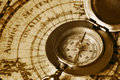 Old compass on vintage map Royalty Free Stock Photo