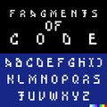 Old computer bitmap pixel font vector set of looking broken and hacked letters english alphabet suitable to illustrate Royalty Free Stock Images