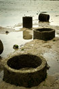 Old concrete drainage pipe at the beach image of Royalty Free Stock Photography