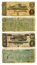 Old Confederate Five and Ten Dollar Bills Royalty Free Stock Photo