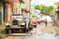 Old convertible car on street of Trinidad, Cuba Royalty Free Stock Photo