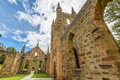 Old convict church port arthur tasmania ruins of the ancient historic settlement at historic site in tasman peninsula Royalty Free Stock Photography