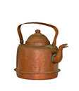 Old copper coffee pot isolated over white Royalty Free Stock Photos
