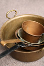 Old copper cooking pots Royalty Free Stock Photo