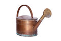 Old copper watering can very beautiful from isolated front of white background Stock Photos