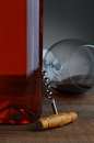 Old Cork Screw and Wine Bottle Stock Images