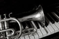 Old cornet on a piano keyboard Royalty Free Stock Photo