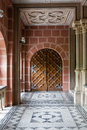 An old corridor with beautiful doors Royalty Free Stock Photo