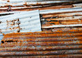 Old corrugated iron fence for background. Royalty Free Stock Images