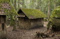 Old cottage old wooden house moss trees Stock Photo
