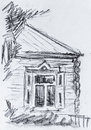 Old cottage, pencil drawing Royalty Free Stock Photo