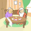 Old Couple Broken Piggy Bank Savings No Money Royalty Free Stock Photo