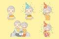 Old couple celebration birthday