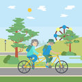 Old couple cycling.