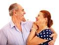 Old couple holding flower men embracing women isolated Stock Image
