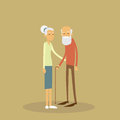 Old Couple Senior Man Woman Stand With Stick