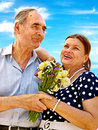 Old couple at summer outdoor happy Royalty Free Stock Photography