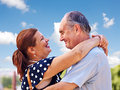 Old couple at summer outdoor happy Stock Image