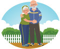 Old couple in track suits vector illustration of an elderly sports Stock Image